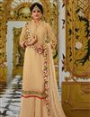image of Traditional Beige Designer Georgette Fancy Embroidered Palazzo Suit