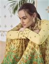 photo of Traditional Party Wear Embroidered Cotton Yellow Printed Palazzo Suit