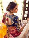 photo of Function Wear Navy Blue Traditional Embroidered Designer 3 Piece Lehenga Choli In Banarasi Fabric