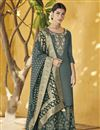 image of Function Wear Grey Designer Palazzo Suit In Art Silk With Embroidery
