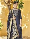 image of Art Silk Designer Navy Blue Function Wear Palazzo Dress With Embroidery