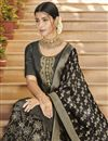 photo of Function Wear Art Silk Designer Palazzo Suit In Black With Embroidery