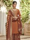 image of Designer Art Silk Function Wear Embroidered Palazzo Suit In Rust Color