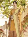 image of Mustard Designer Art Silk Function Wear Palazzo Dress With Embroidery