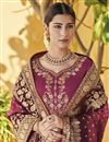 photo of Function Wear Burgundy Color Designer Palazzo Suit In Art Silk With Embroidery