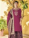 image of Function Wear Burgundy Color Designer Palazzo Suit In Art Silk With Embroidery