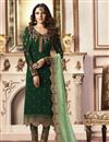 image of Jasmin Bhasin Party Wear Fancy Fabric Straight Cut Suit In Dark Green With Embroidery
