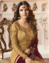 photo of Jasmin Bhasin Fancy Fabric Straight Cut Designer Party Wear Embroidered Suit In Mustard