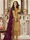image of Jasmin Bhasin Fancy Fabric Straight Cut Designer Party Wear Embroidered Suit In Mustard
