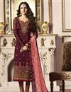 image of Jasmin Bhasin Maroon Fancy Fabric Party Wear Straight Cut Suit With Work