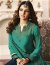 photo of Jasmin Bhasin Party Wear Cyan Straight Cut Suit In Fancy With Embroidery