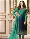 image of Jasmin Bhasin Party Wear Cyan Straight Cut Suit In Fancy With Embroidery