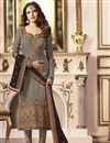 image of Jasmin Bhasin Grey Fancy Fabric Party Wear Straight Cut Suit With Work