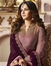 photo of Jasmin Bhasin Party Wear Wine Color Straight Cut Suit In Fancy With Embroidery