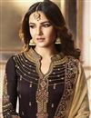 photo of Jasmin Bhasin Brown Straight Cut Designer Party Wear Embroidered Suit In Fancy Fabric