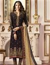 image of Jasmin Bhasin Brown Straight Cut Designer Party Wear Embroidered Suit In Fancy Fabric