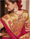 photo of Kajal Aggarwal Embroidery Work Satin Georgette Fabric Fancy Wedding Wear Saree In Rani Color