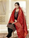 photo of Occasion Wear Georgette Fabric Embroidered Straight Cut Salwar Kameez In Black Color With Banarasi Dupatta