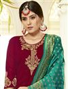 photo of Embroidery Work On Georgette Fabric Maroon Color Wedding Wear Straight Cut Salwar Suit With Banarasi Dupatta