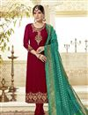 image of Embroidery Work On Georgette Fabric Maroon Color Wedding Wear Straight Cut Salwar Suit With Banarasi Dupatta