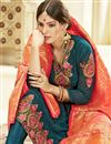 photo of Teal Color Georgette Fabric Sangeet Wear Straight Cut Churidar Suit With Banarasi Dupatta