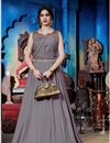 image of Party Style Grey Designer Art Silk Fabric Readymade Gown