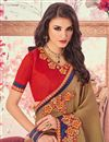 photo of Georgette Dark Beige Embroidered Saree With Fancy Lace Border