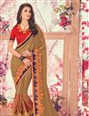 image of Georgette Dark Beige Embroidered Saree With Fancy Lace Border