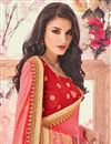 photo of Crimson And Pink Embellished Georgette Party Wear Saree With Lace Border