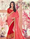 image of Crimson And Pink Embellished Georgette Party Wear Saree With Lace Border
