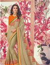 image of Party Wear Cream Designer Saree In Georgette With Heavy Lace Border