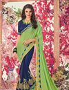 image of Embroidered Georgette Fancy Saree In Blue And Sea Green With Lace Border