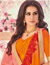 photo of Orange And Peach Georgette Embellished Party Wear Saree With Lace Border