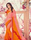 image of Orange And Peach Georgette Embellished Party Wear Saree With Lace Border