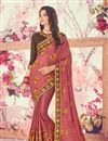 image of Party Wear Saree In Light Wine With Heavy Lace Border
