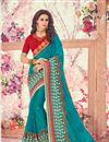 image of Sky Blue Embroidered Saree With Fancy Lace Border