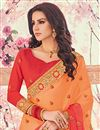photo of Embellished Salmon Georgette Party Wear Saree With Lace Border