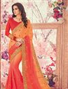 image of Embellished Salmon Georgette Party Wear Saree With Lace Border