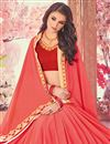 photo of Embroidered Salmon Fancy Saree In Georgette With Lace Border