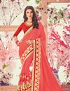image of Embroidered Salmon Fancy Saree In Georgette With Lace Border