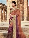 image of Burgundy And Coffee Wedding Function Wear Designer Georgette Saree With Fancy Blouse