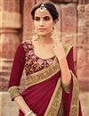 photo of Designer Georgette Dark Brown And Maroon Fancy Saree With Embellished Blouse