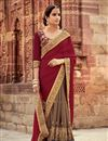 image of Designer Georgette Dark Brown And Maroon Fancy Saree With Embellished Blouse