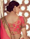 photo of Georgette Sangeet Wear Designer Brown And Salmon Pink Saree With Heavy Blouse