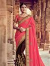 image of Georgette Sangeet Wear Designer Brown And Salmon Pink Saree With Heavy Blouse