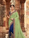 image of Navy Blue And Sea Green Wedding Wear Embellished Saree In Georgette With Designer Blouse