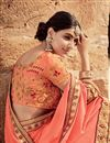 photo of Embroidered Function Wear Red And Salmon Fancy Saree In Georgette With Heavy Blouse