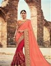 image of Embroidered Function Wear Red And Salmon Fancy Saree In Georgette With Heavy Blouse
