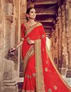 image of Function Wear Georgette Red Fancy Saree With Embroidered Blouse