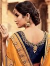photo of Wedding Function Wear Georgette Designer Navy Blue And Mustard Saree With Fancy Blouse